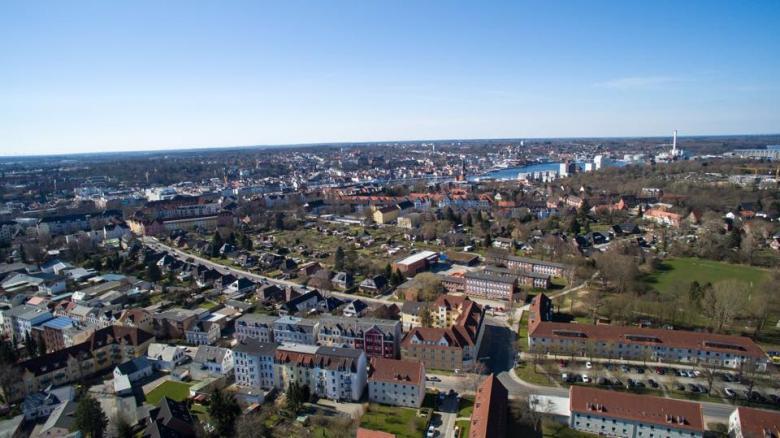 Stadtteil Jügensby mit Blickrichtung zur Hafenspitze